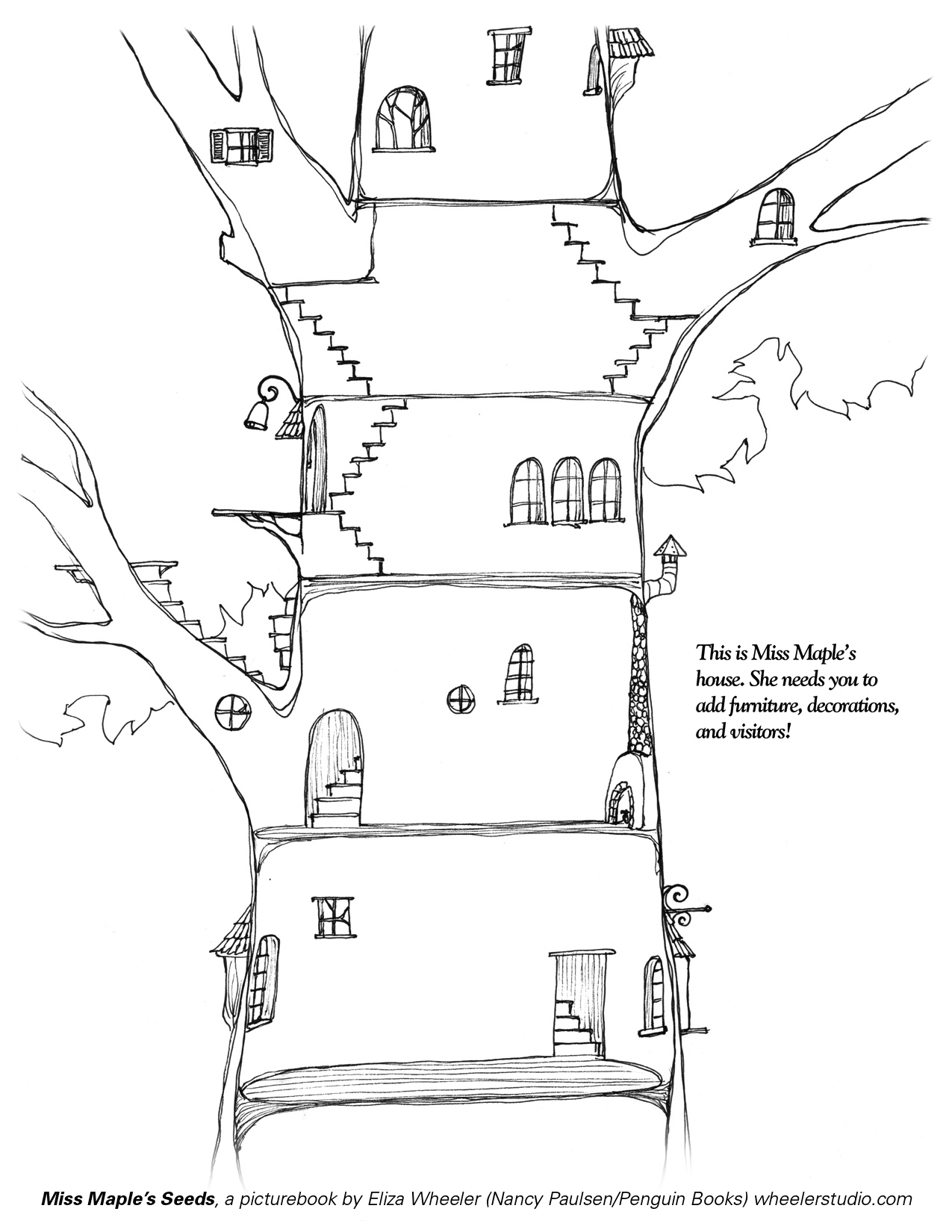 Free Coloring Pages Of Tree House