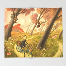 bike-ride-through-the-woods-throw-blankets