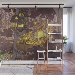 treehouse-dinner-with-animal-friends-wall-murals